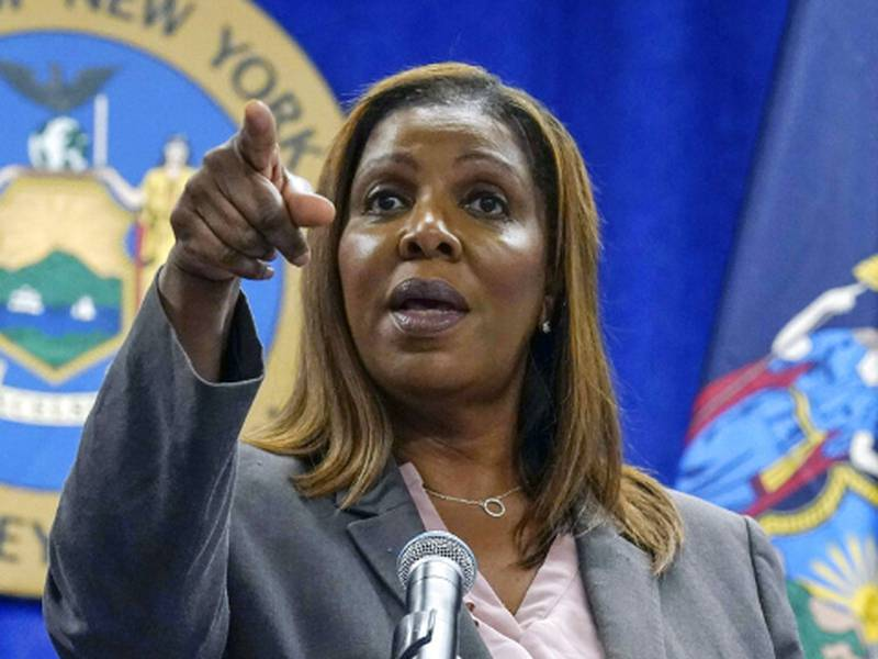 New York Attorney General Letitia James acknowledges questions from journalists at a news...