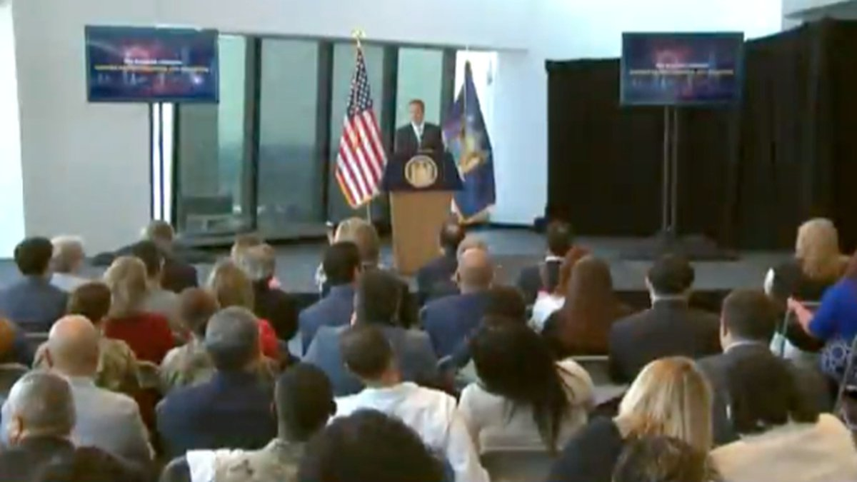 Gov. Andrew Cuomo announces that the state has reached the vaccination goal that allows it to...