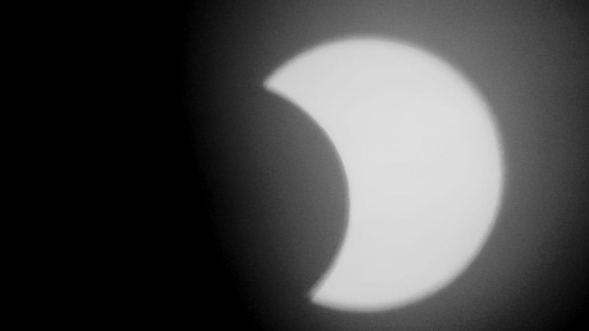 A still photo of Thursday's partial solar eclipse, as seen in Watertown.