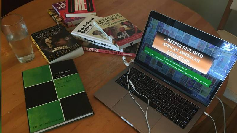 """Podcasting equipment and books for SUNY Potsdam professor's """"Deeper Dive Into African-American..."""