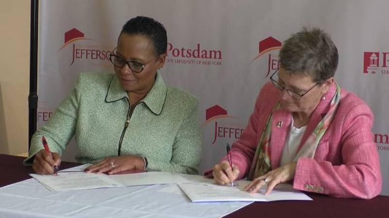 JCC President Dr. Ty Stone and SUNY Potsdam President Dr. Kristin Esterberg