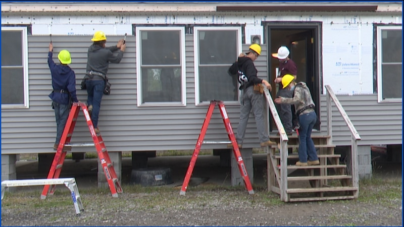 BOCES students from Northwest Tech build a home. The home will take the place of a house in...