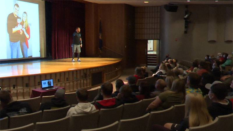 Former Army Staff Sgt. Travis Mills shared his experiences as a wounded veteran at Jefferson...