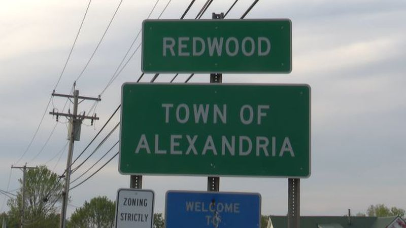 Redwood and town of Alexandria sign