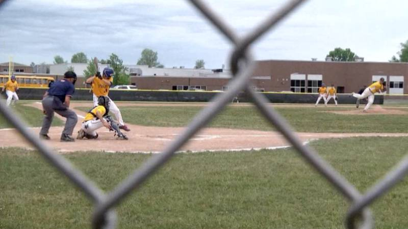 South Jefferson's Nate Hulbert hits a shot over the centerfielder's head, allowing Caleb Peters...