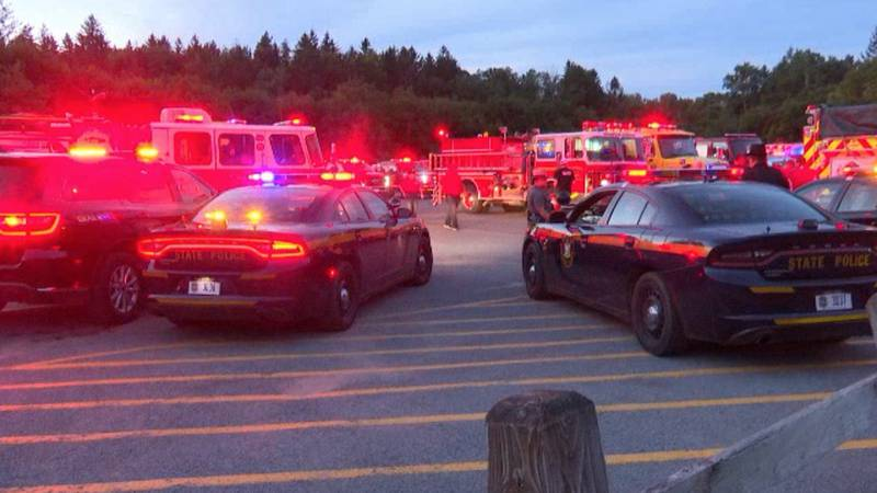 First responders of all types lit the sky red Monday night to show support for injured Carthage...