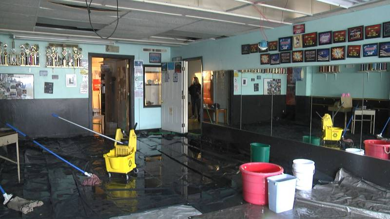 Interior of Dance World, Watertown, flooded by early October rains.