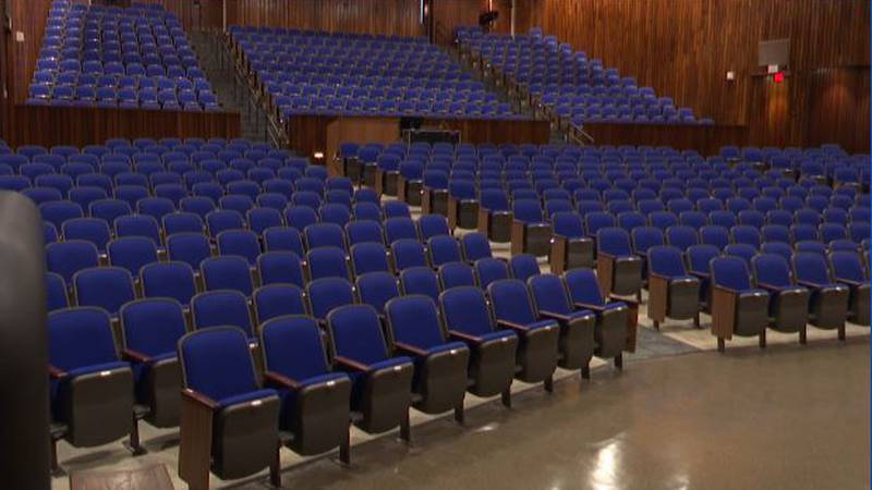 The auditorium at the Dulles State Office Building in Watertown has undergone a $3.5 million...