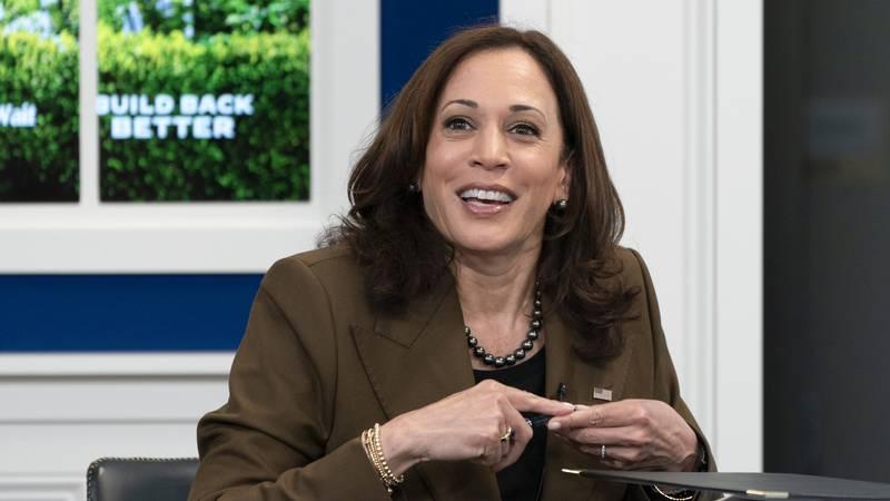 FILE - Vice President Kamala Harris smiles at Sen. Tammy Duckworth, D-Ill., not pictured, at...