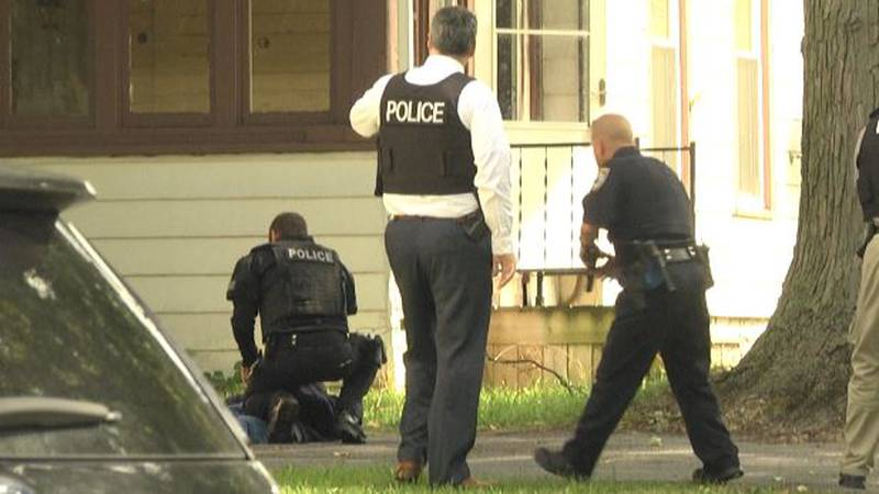 There were some tense moments between police and a man who allegedly threatened them with a...