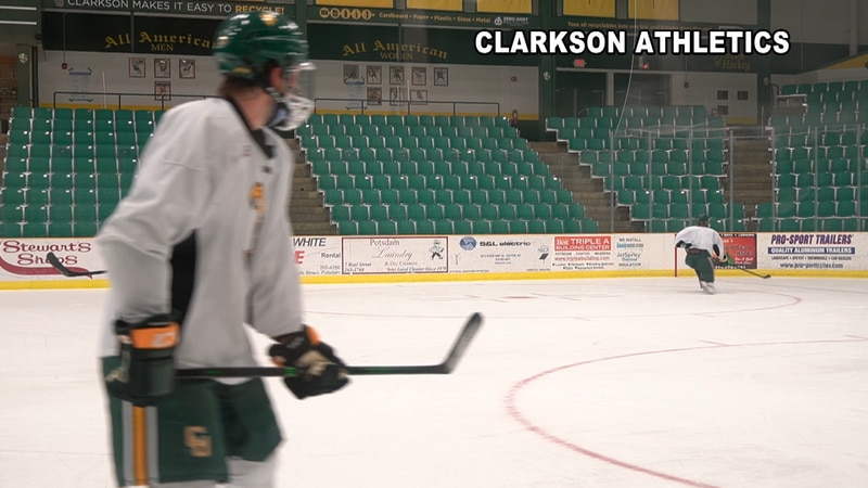 Like the Skating Saints of St. Lawrence, the Clarkson Golden Knights Men's Hockey Team is less...