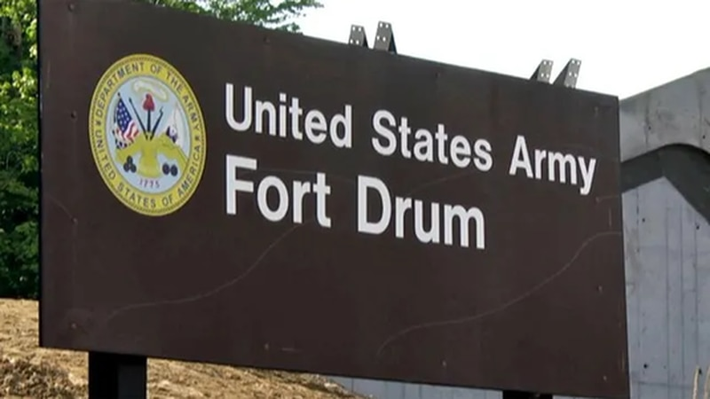 Sign outside entrance to Fort Drum.