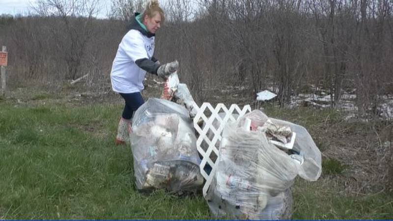 Some local restaurant workers commemorated Earth Day by cleaning up trash along a Jefferson...