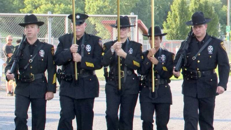 Led by the sheriff's office color guard, the Jefferson County Fair Fireman's Parade was held...
