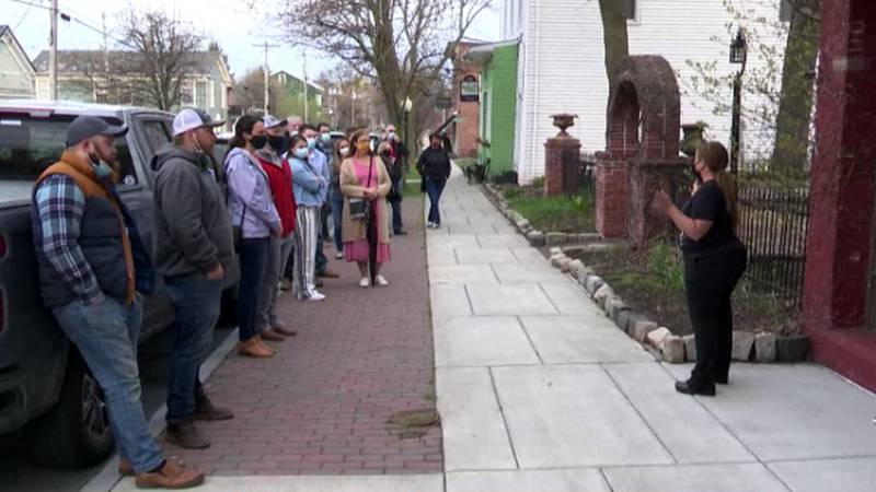 Customers lined up Thursday morning for the reopening of Tin Pan Galley in Sackets Harbor.
