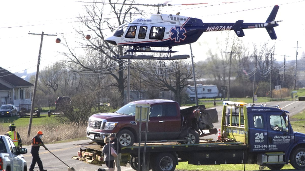 One person was airlifted to a Syracuse hospital following a three-vehicle crash in Brownville...