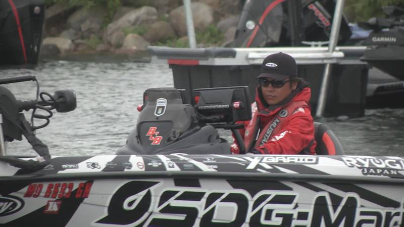 Japanese anglers cast their line at the Bassmaster Elite competition in Waddington