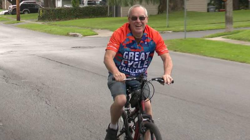 Robert Finn on bicycle
