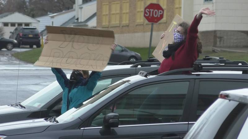Senior staff from the Watertown Family YMCA expressed gratitude with signs and by honking horns...