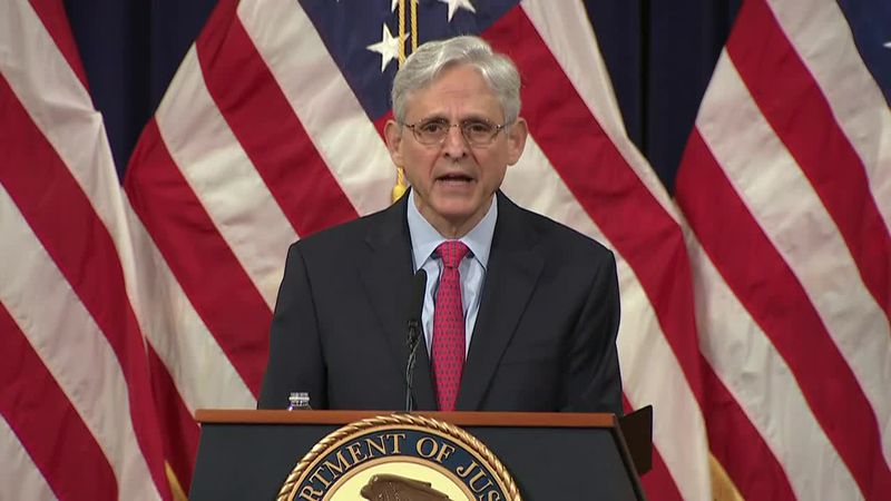 Attorney General Merrick Garland discusses prosecutions related to the Capitol attack during a...