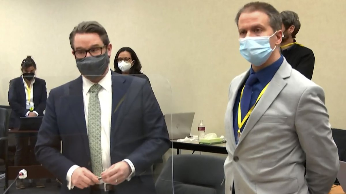 FILE - In this April 19, 2021, file image from video, defense attorney Eric Nelson, left,...