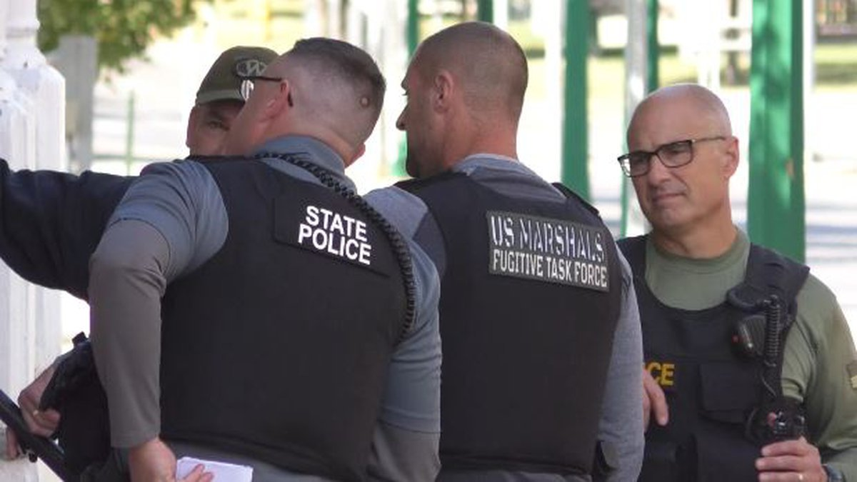 It's something you don't see every day in downtown Watertown - the presence of U.S. Marshals...