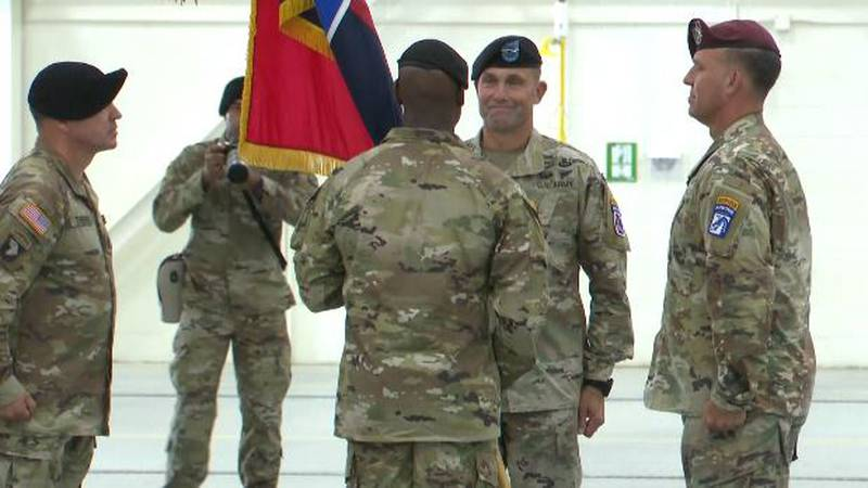 Major General Brian Mennes relinquishes command to Brigadier General Milford Beagle, Jr.