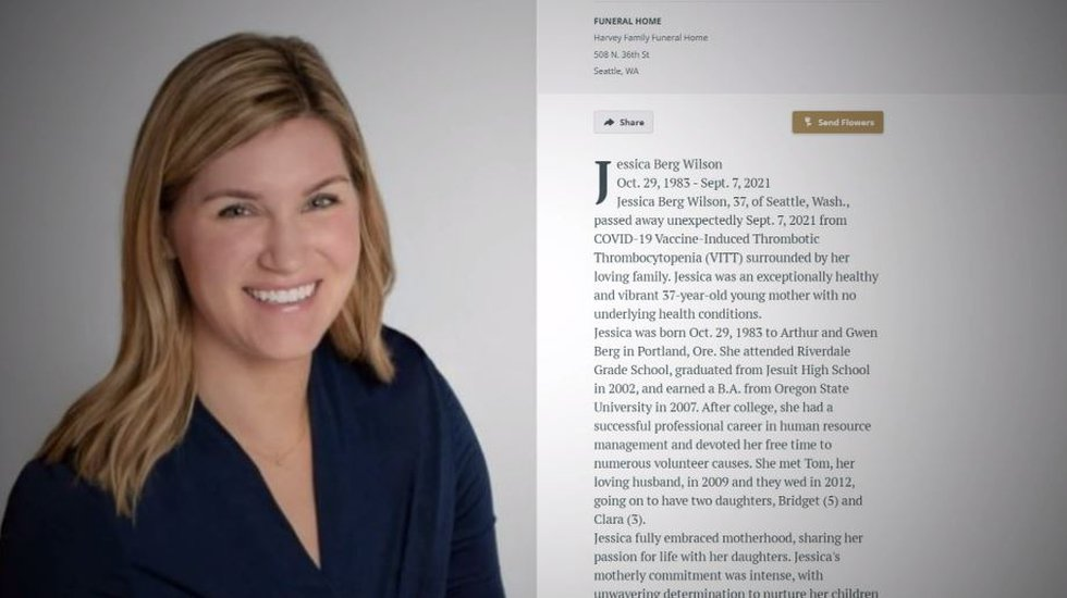 Jessica Berg Wilson, a 37-year-old mother of two, died from what her obituary says was...