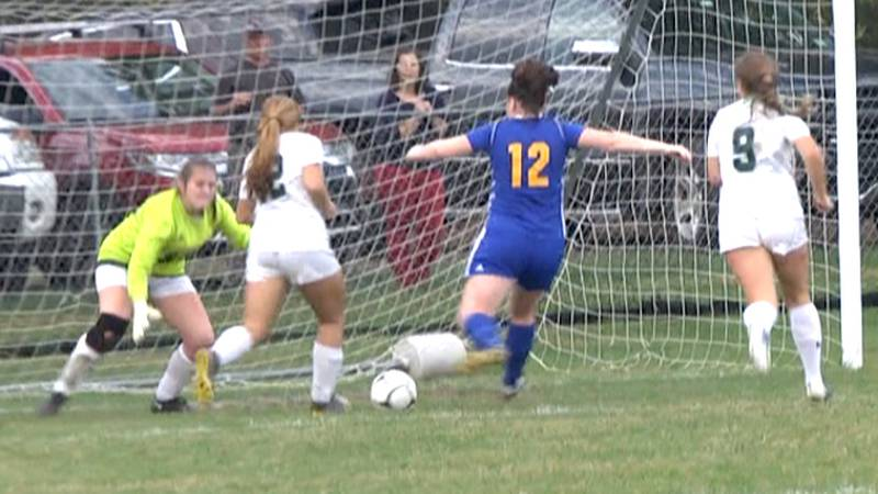 Gouverneur's Kaitlyn Gibson knocks in a goal in a Northern Athletic Conference girls' soccer...