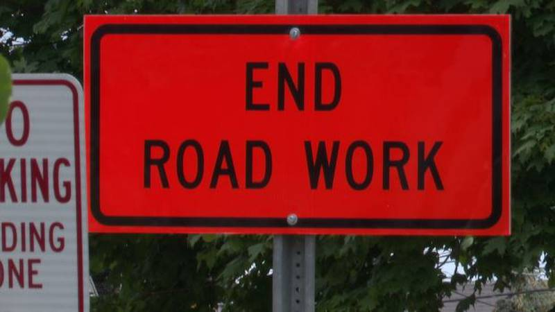 'End road work' sign in Clayton