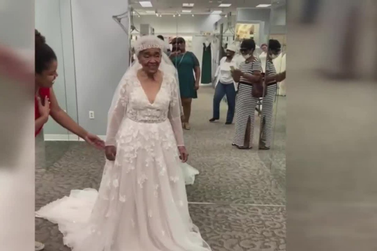20 year old grandmother tries on wedding dresses for the first time