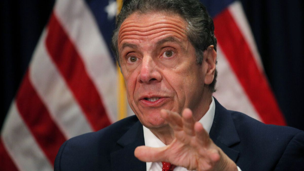 Gov. Andrew Cuomo speaks during a news conference at his offices in New York on Wednesday,...