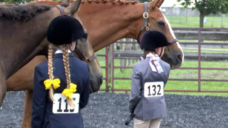 Riders and horses wait their turns to compete at the Jefferson County Fair on Wednesday.