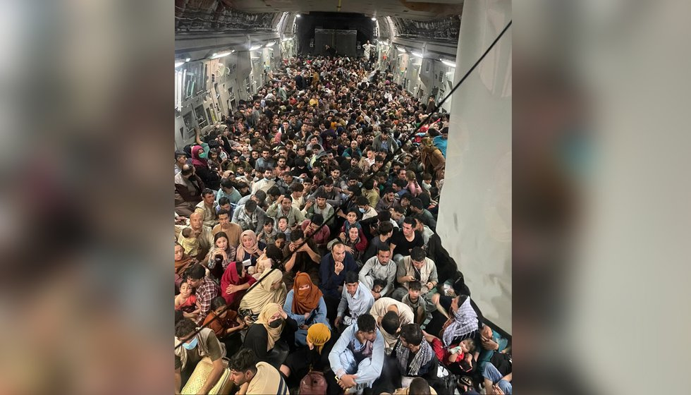 A U.S. Air Force C-17 Globemaster III safely transported approximately 640 Afghan citizens from...