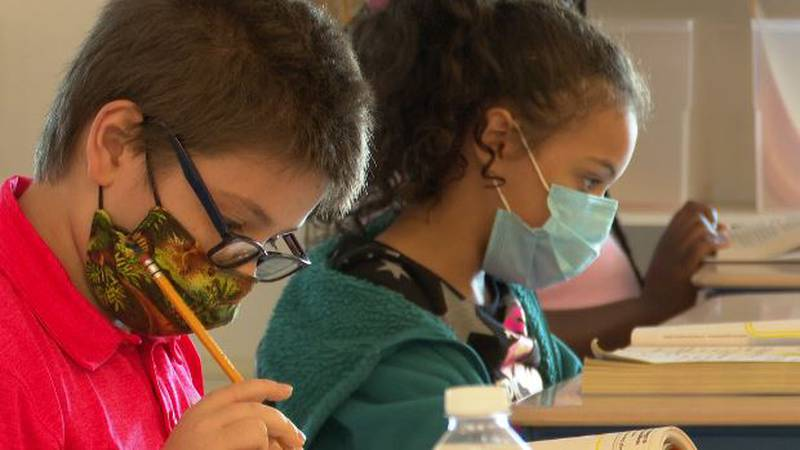 Watertown students wearing masks in class