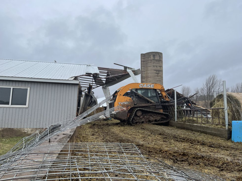 Friday's storm is blamed for a the collapse of a barn roof in Lewis County.