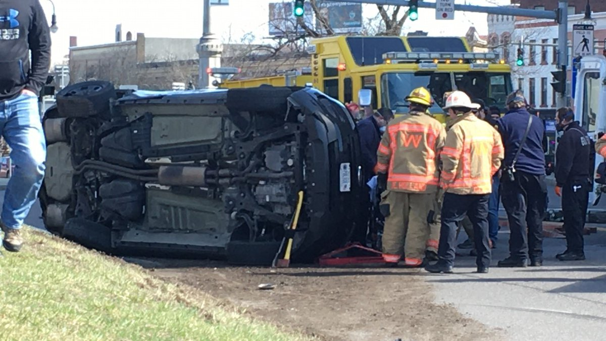 A Watertown Police vehicle was involved in a crash near Public Square Monday afternoon