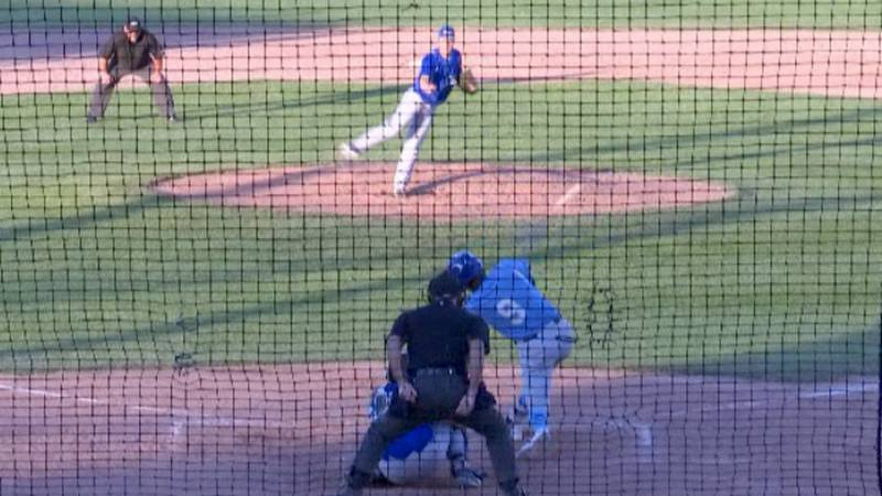 Lowville native Brett Myers singles for the Watertown Rapids as they hosted the Utica Blue Sox...