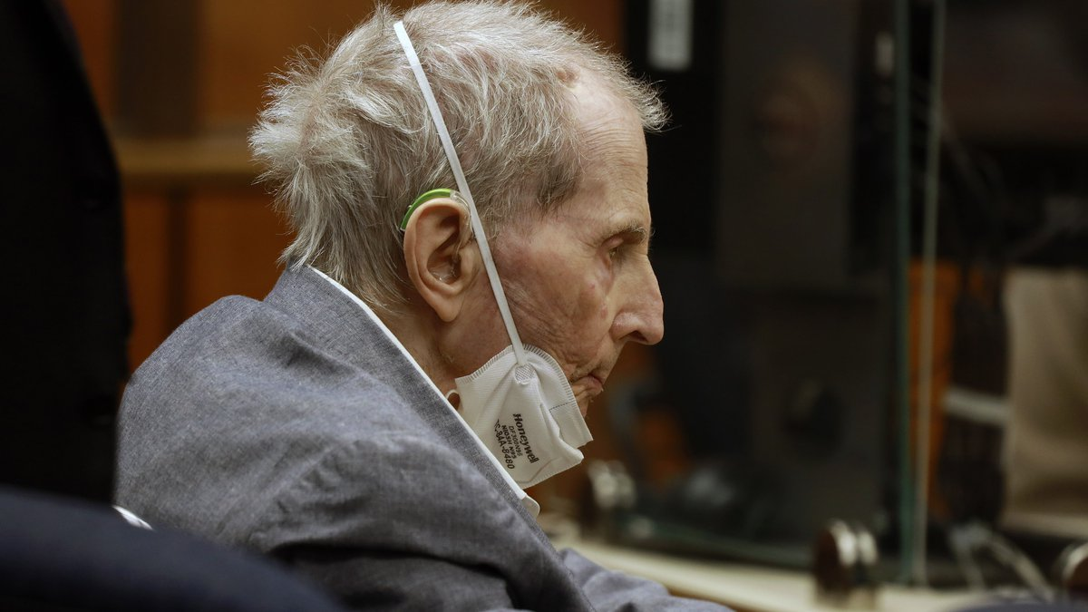Robert Durst appears in a courtroom with his attorneys for closing arguments Wednesday, Sept....