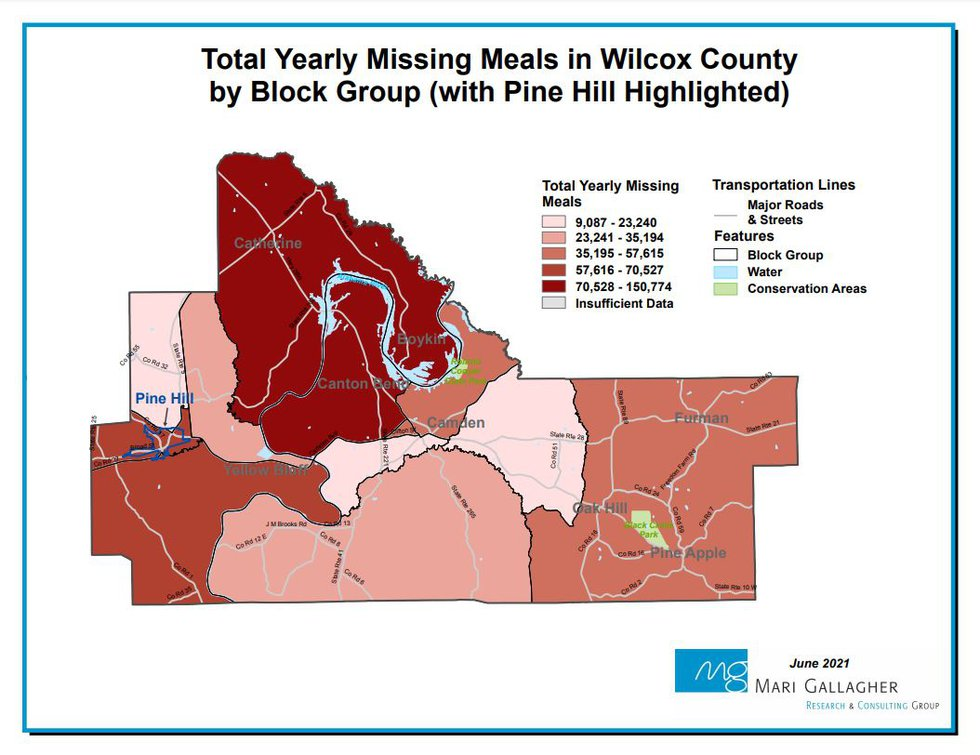 This map shows how many meals are missed each year in various block groups of Wilcox County,...