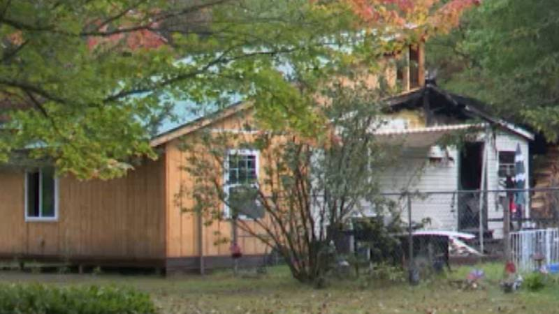 A home on Finnigan Road in the town of Lawrence was heavily damaged by fire Monday evening.