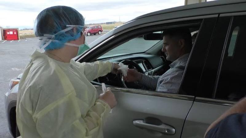 March 2020 photo of Samaritan's drive-up COVID testing