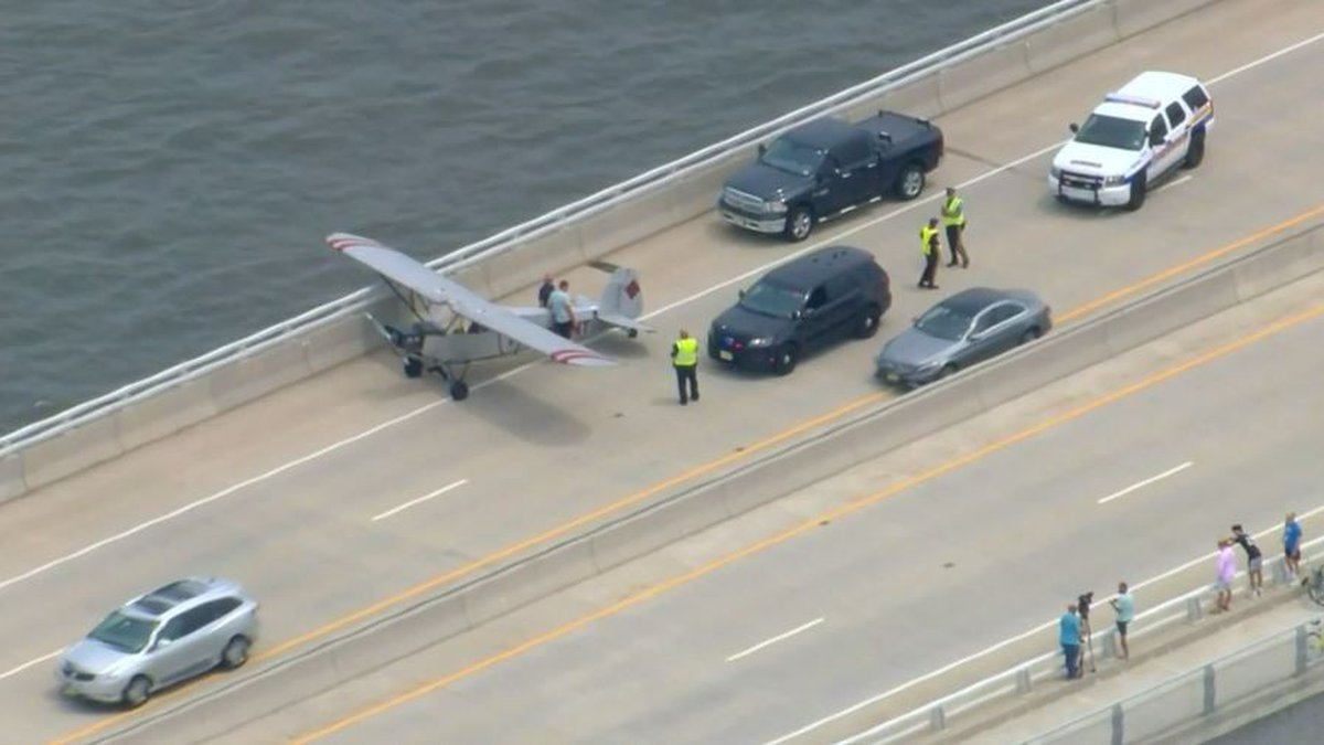 The pilot, 18-year-old Landon Lucas, landed in a gap in traffic on the Route 52 Causeway in New...