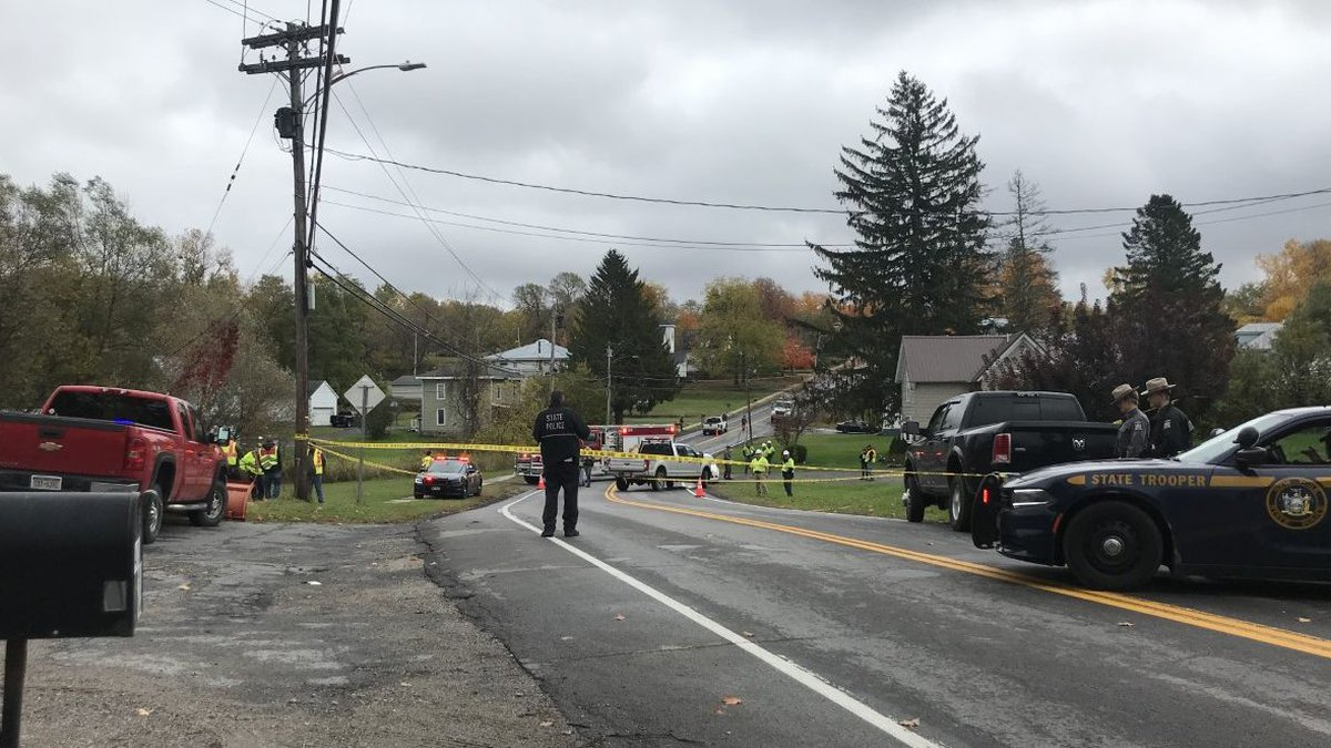 State police on the scene of a serious accident involving a pedestrian who was hit by a vehicle