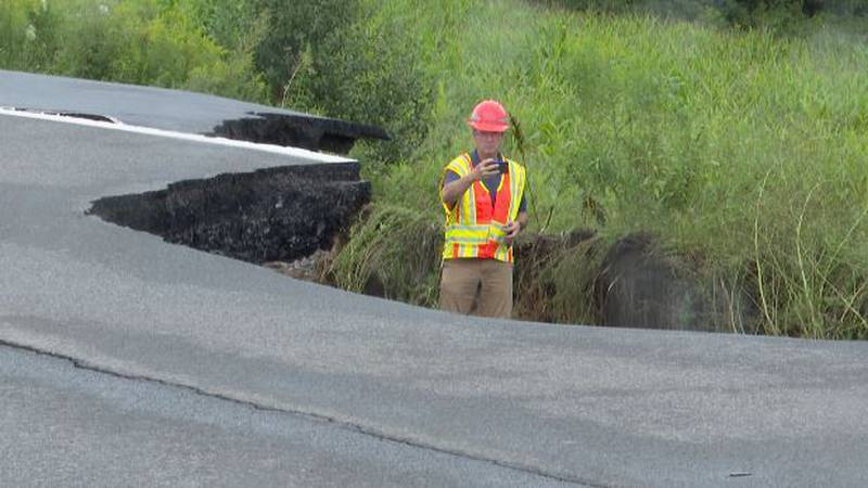 Route 12D in the town of Leyden is damaged by flooding