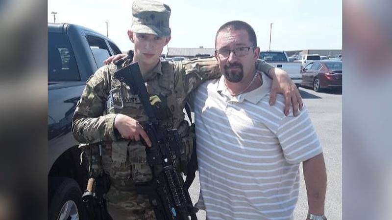Travis Webster with his soldier son, also named Travis.
