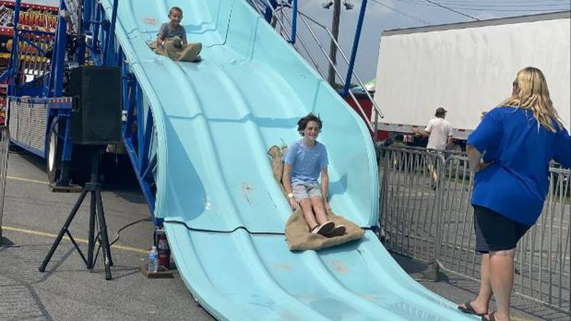 Children on slide at Gouverneur-St. Lawrence County Fair