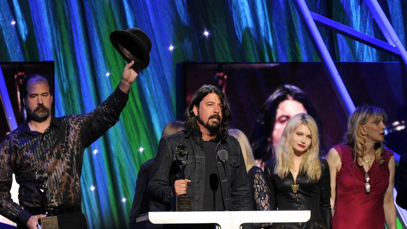 Hall of Fame Inductee of Nirvana, Dave Grohl speaks at the 2014 Rock and Roll Hall of Fame...