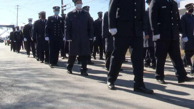 Hundreds of firefighters accompanied the body of Peyton Morse Friday to St. Mary's Church in...