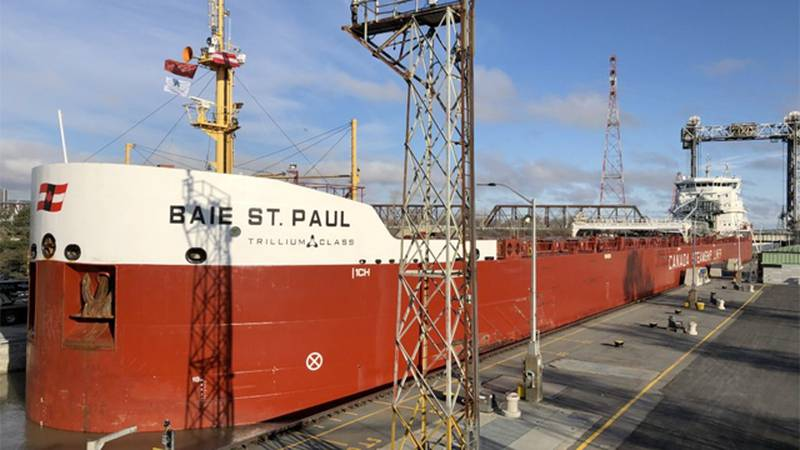The CSL Baie St. Paul was the first vessel officially into the Montreal to Lake Ontario section...